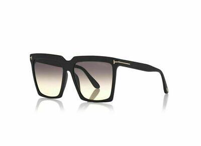 Authentic Tom Ford FT 0764 Sabrina 01B Shiny Black/Smoke Gradient Sunglasses