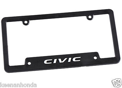 Genuine OEM Honda Lifestyle Collection Black Civic License Plate Frame Plastic