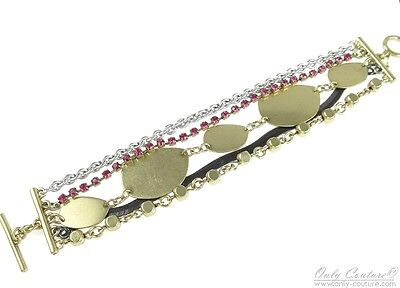 - KENSIE Pink Crystals Gold Tone Coin Multi Row Toggle Bracelet $48 NEW