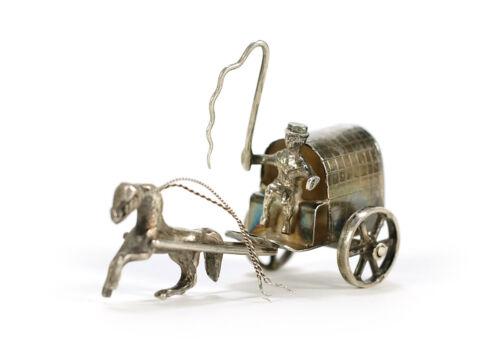 Antique Dutch Silver Miniature Novelty Horse & Cart • Jan van Dijk Hoorn