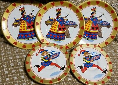 Childs Vintage Tin Litho QUEEN of HEARTS Dishes Tea SET Toy Plates & saucer 5pc. Heart Tin Tea Set