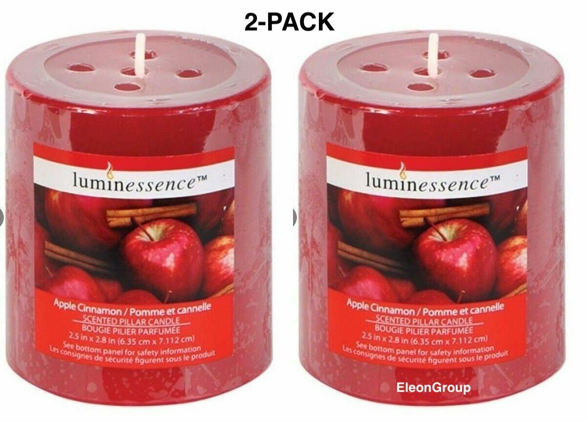 2-PACK Pillar Candles Scented Luminescence Apple Cinnamon Wa
