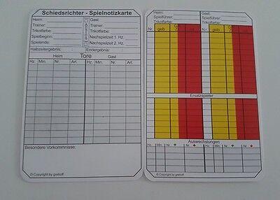 Die Neuen Schiedsrichter Notizkarten DFBnet 100 Stück Fussball Spielnotizkarten
