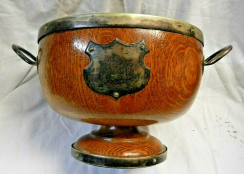 Antique English Tiger Oak & Silver Trophy/Awards / Presentation Serving Bowl