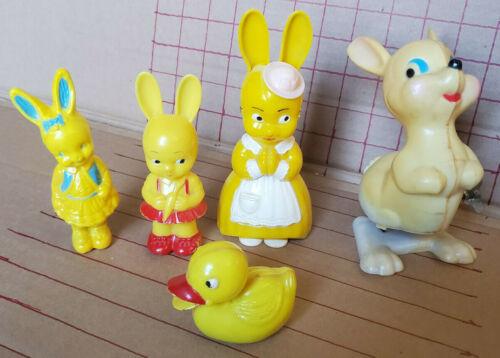 Vintage Irwin Knickerbocker Plastic Bunny Rattles Friction Duck Easter Unlimited