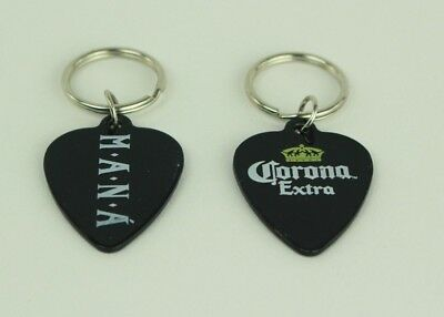 Set of 2 Corona Extra Official Metal MANA Branded Guitar Pick Shaped Keychains