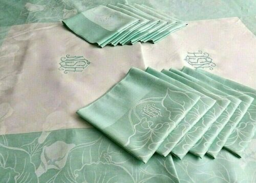 """ANT. French Damask Linen Tablecloth 137"""" & 12 Lapkins 26"""" Monogram, Calla Lilies"""