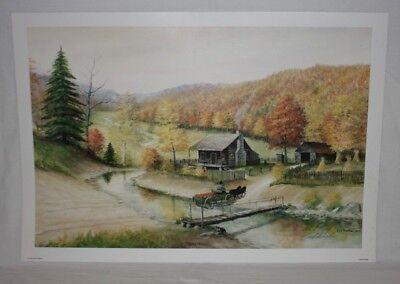 Golden Harvest Kentucky Artist Fred Thrasher Log Cabin Pumpkins Horse Wagon AP