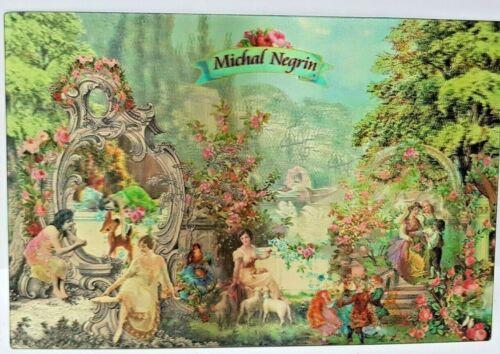ISRAEL MICHAL NEGRIN 3D POSTCARD  ART FLOWERS ROSES ROMANCE LADYS 1940