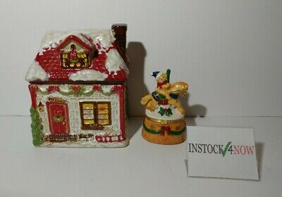 Christmas candy / cookie Jar house Toy Store + Carousel Horse / Bear Trinket box