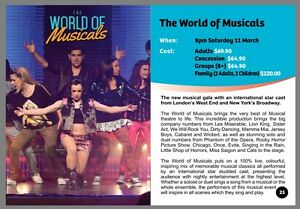 The world of musicals - 2 tickets Redcliffe Cultural Centre 11 March Brisbane City Brisbane North West Preview