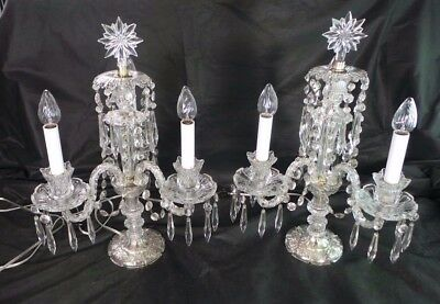 ANTIQUE PAIR OF GIRANDOLES CRYSTAL LIGHTS 3 ARMS LUSTERS