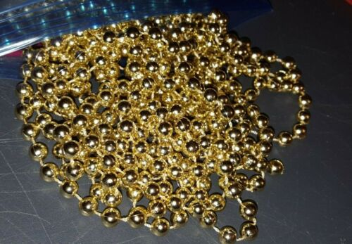 "Gold Beads Christmas tree garland 18 feet vintage 3/16"""