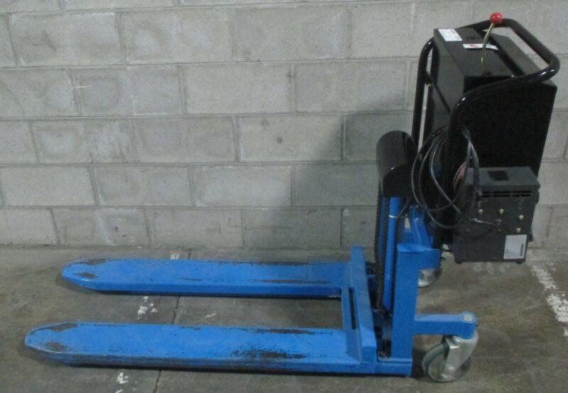 "Bishamon Pallet Skid Jack Hydraulic Lift 1100 lb Cap 33"" High LV50E NEW BATTERY"