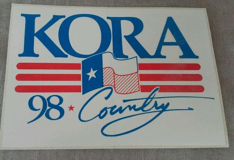 KORA Bumper Sticker 98.3 Country Radio Station 1989 NOS Bryan Texas A&M Unused