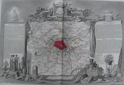 "1856 Original Levasseur Map - ""Dept. De La Seine"" - Paris, Versailles, France"