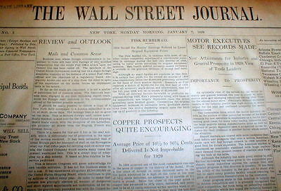 Rare ORIGINAL 1929 WALL STREET JOURNAL newspaper from Year of STOCK MARKET CRASH
