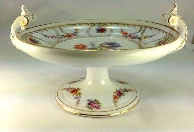 Vintage Elegant Schwarzburg Germany Porcelain Compote Floral Bouquet Rose