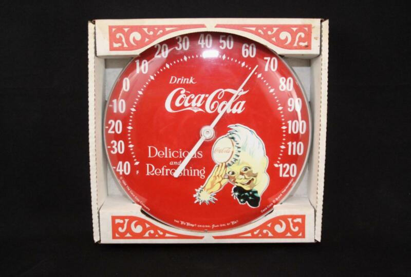 Coca-Cola Round Thermometer Tin Advertising Sign Delicious & Refreshing