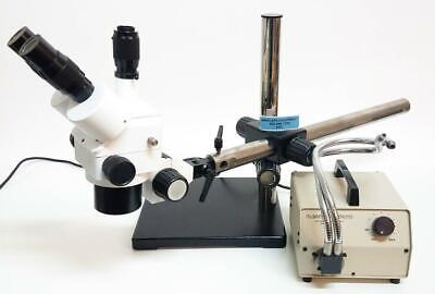 Meiji Trinocular Microscope Head Unbranded W Mcbain Light Source Mount 6587