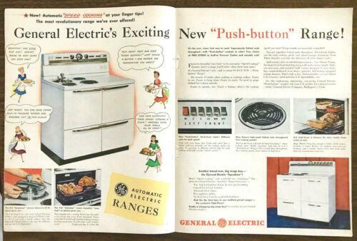 1948 General Electric Push-Button Range Centerfold Print Ad Cartoon Homemakers