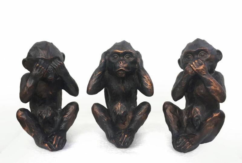 "See Hear Speak No Evil Monkeys Three Wise Ape Figurine Statue Set Of 3 6.5"""