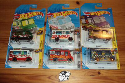 Hot Wheels LOT of 6 Quick Bite Food Trucks, One Treasure Hunt 2017-2020