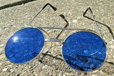 VTG Retro Flip-up Lens Steampunk Sunglasses Blue/Clear Round Eye Glasses Taiwan