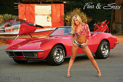 Chevrolet C3 Corvette Stingray Convertible V8 Coupe Pin-up Ad Art Poster Print   on Rummage