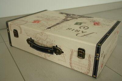 Koffer Holz Kunsteder bedruckt Reise Deko Paris Design NEU