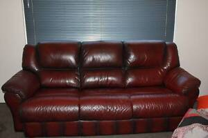 Merrys Red Leather 3 Seater Sofa and 2 Recliners The Vines Swan Area Preview