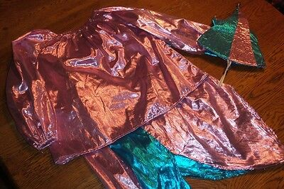 Girls' Medium Jester Costume Pink Blue Shiny Bells Fun 3 Piece - Girls Jester Costume