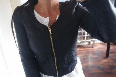 Neu Jacke S 36  Kunst Leder Optik Schößchen Blogger Trend Blazer Bolero Schwarz ()