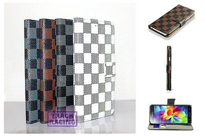 Luxury Grid Stand Card holder PU Leather Flip Slim Wallet CellPhone Case Cover ()