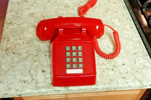 Vintage RED Cetis HAC AEGIS 2510D 2-Line Desk Phone w/ Cords New No Box Mint