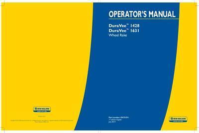 New Holland Duravee 1428 Duravee 1631 Wheel Rake Operators Manual
