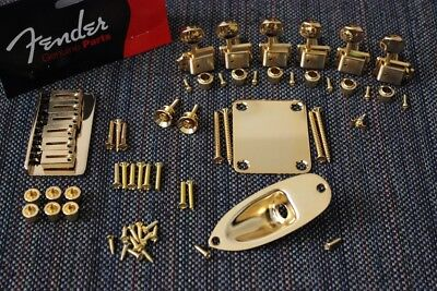 American Standard Hardware (New Fender American Standard Hardtail Gold Stratocaster Hardware Set w/ Tuners)