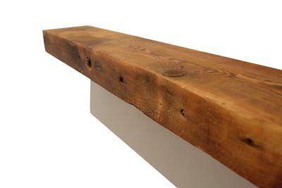 - Rustic Fireplace Mantel Floating Wood Shelf - Reclaimed Barn Wooden Beam