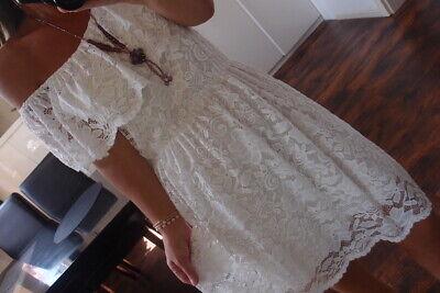 Kleid S M Neu Tunika Sommer Hippie Spitze Weiß Chic Ibiza Blogger Musthave Boho