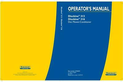 New Holland Discbine 313 316 Disc Mower-conditioner Operators Manual