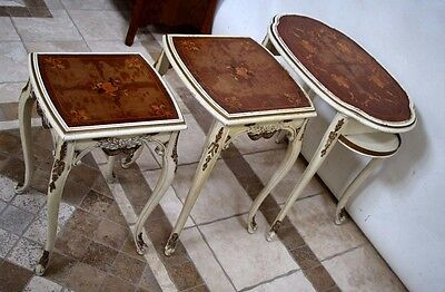 Vintage French Nesting Tables Gold White Finish original Distressed Patina  ()