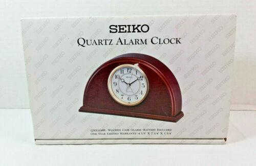 Seiko Wooden Quartz Alarm Clock QXE104BL - Desk/Mantle Clock