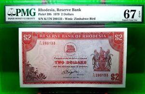 MONEY RHODESIA 2 DOLLARS 1979 RESERVE BANK PMG SUPERB GEM UNC PICK #39b