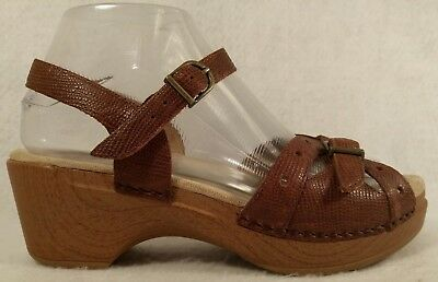 Dansko Sissy Brown Lizard Print Leather Ankle Strap Wedge Sandal Women 37 6.5 7