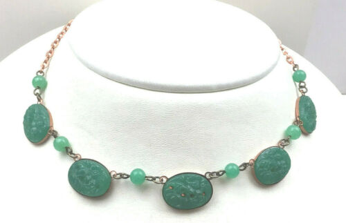 Vintage Inspired Necklace Carved Glass Jade Green Floral Copper Cabochon Choker