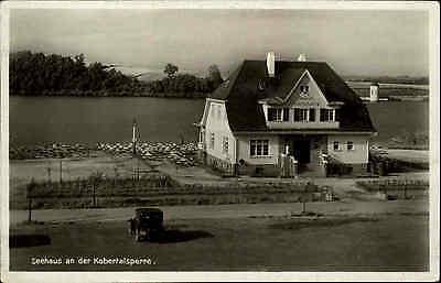Kobertalsperre Talsperre bei Langenbernsdorf ~1930 alte Postkarte mit Seehaus