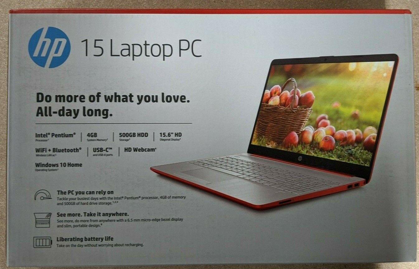 "Laptop Windows - NEW HP 15.6"" HD Intel Pentium Gold 4GB 500GB Webcam Windows 10 Scarlet Red"