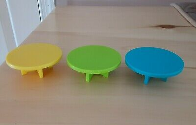 Vintage Fisher Price little people lot/3 round dining tables yellow/green/blue