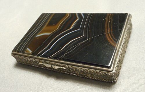 Antique European .800 Silver Snuff Tobacco Box w Agate Lid cracked as is
