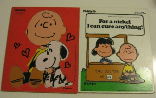 Vintage Playskool Wood Peanuts Snoopy Charlie Brown Lucy Nickle Cure Puzzle